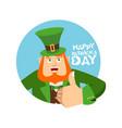 happy stpatrick s day leprechaun winks dwarf with vector image vector image