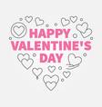 happy valentines day heart line vector image vector image