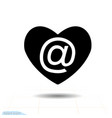 heart black icon love symbol mail in heart vector image