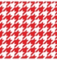 Houndstooth tile red and white pattern background vector image vector image