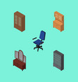 isometric design set of drawer office cabinet vector image vector image