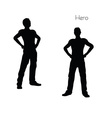 man in Hero pose on white background vector image vector image
