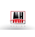 mh m h logo letters with red and black colors and vector image