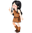 Native american indians girl in costume vector image vector image