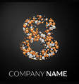 number eight logo gold-silver dots vector image