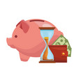 piggy with wallet money and hourglass vector image vector image