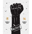 Protest poster raised fist held in protest vector image vector image