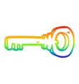 rainbow gradient line drawing cartoon gold key vector image vector image