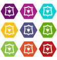 Royal shield icons set 9 vector image