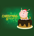 santa cat on cake is greeting for christmas eve vector image