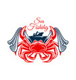 sea fishing symbol with crab and net vector image vector image