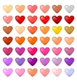 set colorful hearts palitra different vector image
