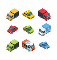 set isometric cartoon-style city cars vector image vector image