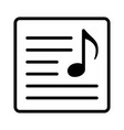 song lyrics or music sheet line art icon vector image vector image