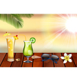 Summer holiday with fresh drinks vector image