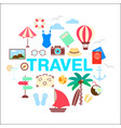 summer travel icon set vector image