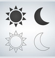 sun and moon flat and linear icon icon for web vector image vector image