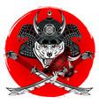 tiger samurai 0002 vector image vector image