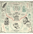 Vintage Icons and Objects on Crumpled Paper vector image