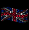 waving uk flag pattern of erase items vector image