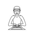 young man with laptop computer vector image vector image