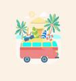 cartoon color summer bus transportation vector image