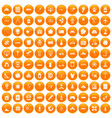 100 development icons set orange vector image vector image