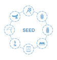 8 seed icons vector image vector image