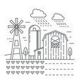 agriculture farm with gardens thin line concept vector image