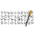 birds doodle set vector image