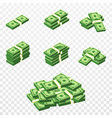 bunches money in cartoon 3d style set of vector image vector image