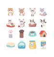 cats dog paw house food box ball pets vector image vector image