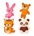 children soft toys bear tiger hare vector image