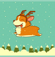 Christmas dog on winter forest background vector image