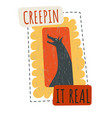 creepin it real howling wolf on halloween vector image