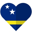 Curacao flat heart flag vector image vector image