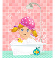 cute cartoon blonde baby girl taking a bubble bath vector image