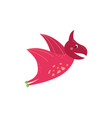 cute cartoon pterodactyl flying and smiling vector image vector image