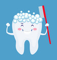 cute cartoon tooth with foam and toothbrush vector image