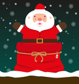 cute fat big Santa Claus come out of Christmas bag vector image vector image