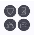 Dialog chat speech bubbles and shield icons vector image vector image