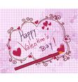 doodles valentine background vector image vector image