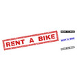 grunge rent a bike scratched rectangle stamp seals vector image vector image