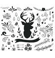 Hand drawn vintage set with a reindeer and vector image vector image