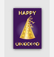 happy birthday festive card and smart golden cone vector image vector image
