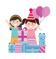 happy girls with birthday gifts and balloons vector image vector image
