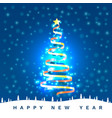 happy new year christmas tree tape golden design vector image vector image