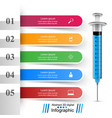 health syringe icon 3d medical infographic vector image vector image