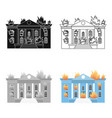 house on fire icon cartoon single silhouette fire vector image vector image