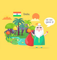 indian santa claus greets with happy new year vector image vector image